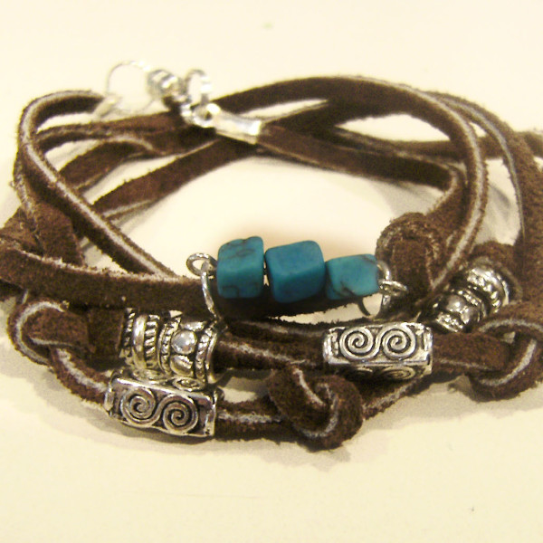 Bound wrap leather bracelet