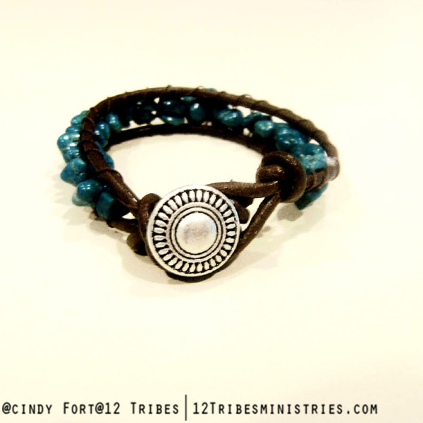 turquoise and leather single wrap back