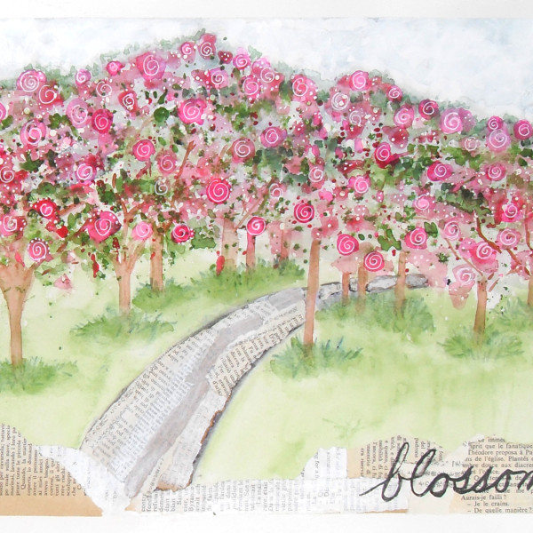 Blossom Mixed Media watercolor original